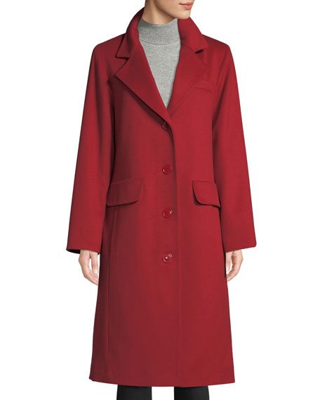 SOFIA CASHMERE Long Updated Classic Wool-Blend Coat in Red