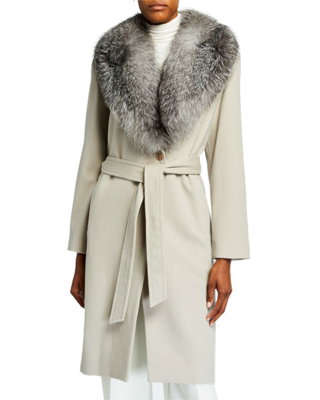 SOFIA CASHMERE Fur Shawl-Collar Long Wrap Coat in Brown Pattern