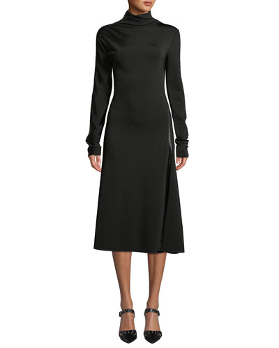 Studded Turtleneck Long-Sleeve Midi Dress