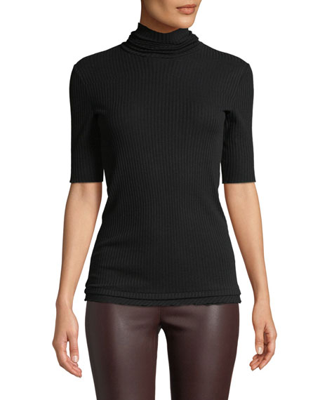Helmut Lang Short-Sleeve Ribbed Cotton Turtleneck Sweater