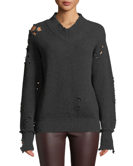 Helmut Lang Distressed V-Neck Wool Pullover Sweater