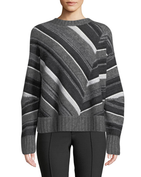 Helmut Lang Striped Wool-Cashmere Crewneck Pullover Sweater