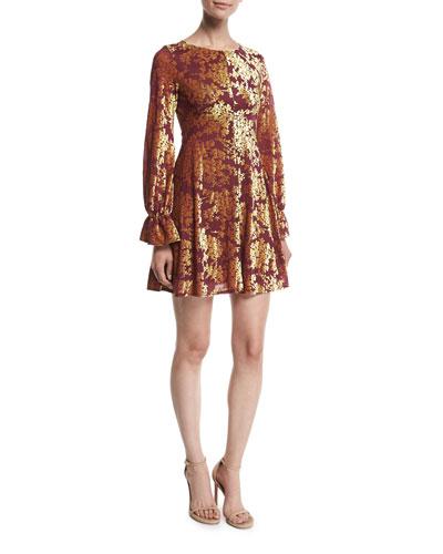 Valeria Velvet Burnout Long-Sleeve Short Dress
