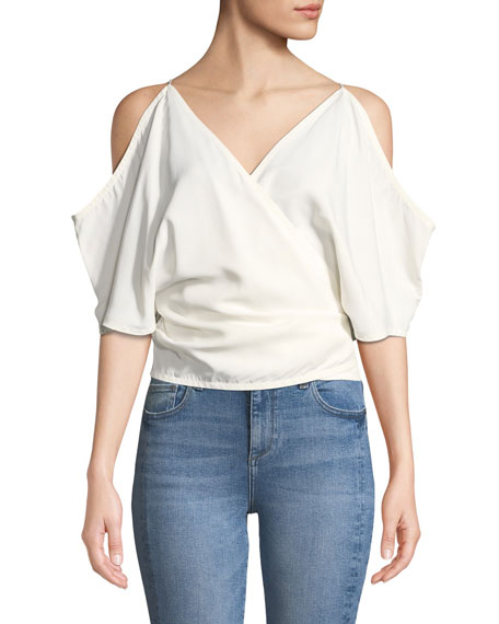 Helmut Lang Cold-Shoulder Viscose Wrap Top