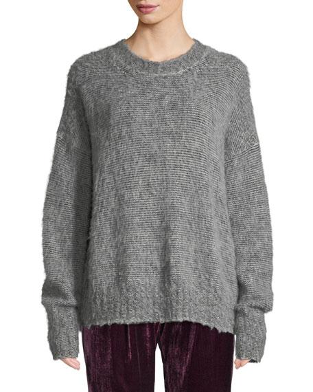 Helmut Lang Brushed Wool-Blend Crewneck Sweater