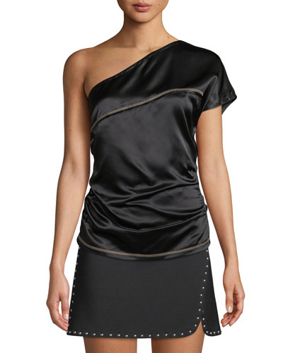 One-Shoulder Viscose Top with Contrast Stitching