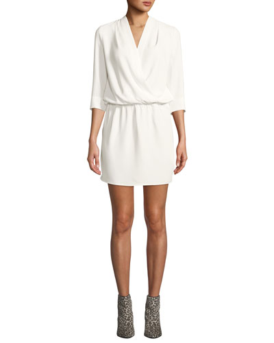 Venus Draped 3/4-Sleeve Mini Dress
