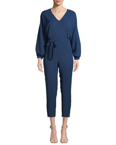 Soraya Belted Long-Sleeve Cropped Jumpsuit