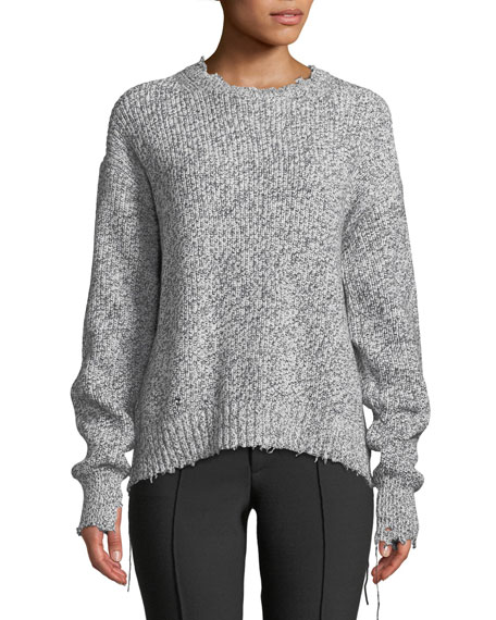 Helmut Lang Distressed Cotton-Blend Crewneck Sweater