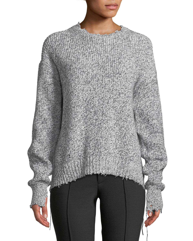 5a3e95d49c447 Helmut Lang Distressed Cotton-Blend Crewneck Sweater