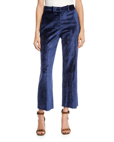 Libby Velvet Cropped Flare-Leg Pants