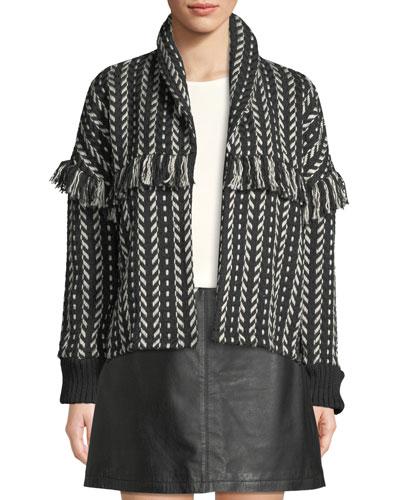 Genesis Shawl-Collar Fringe Jacket