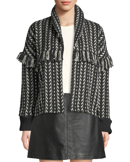 Genesis Shawl-Collar Fringe Jacket