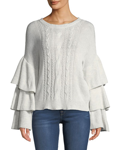 Kristin Cable-Knit Bell-Sleeve Sweater
