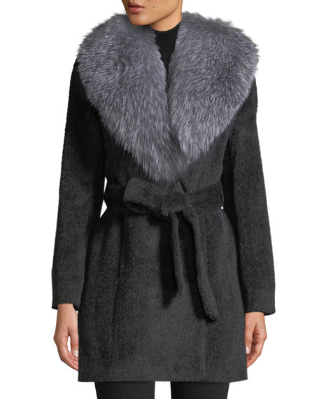 SOFIA CASHMERE Oversized Fur-Collar Belted Wrap Coat in Gray Pattern