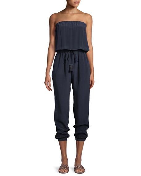 Laverne Strapless Silk Jumpsuit