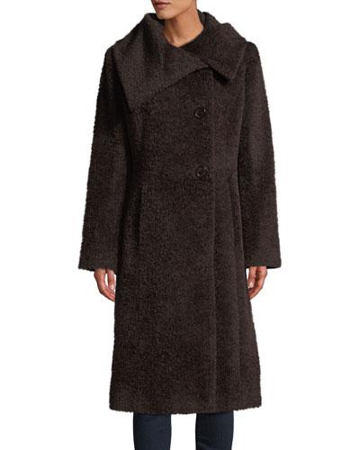 Envelope-Collar Wool Coat