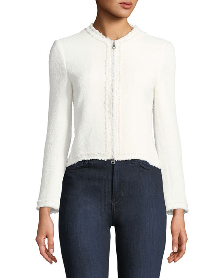 Spring Boucle Zip-Front Flounce Jacket