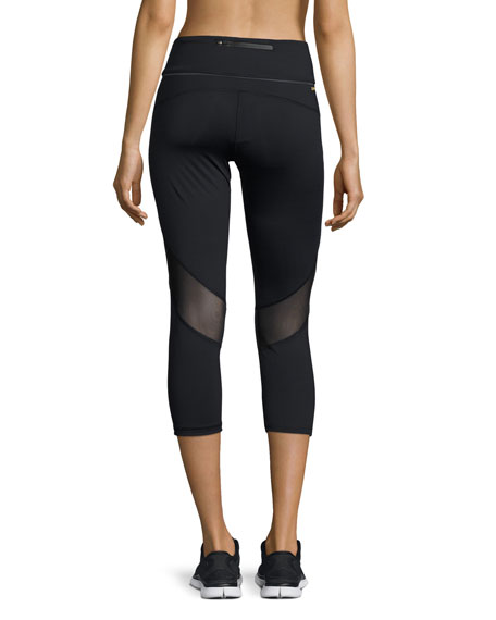 Captain Cropped Leggings/Running Tights, Black
