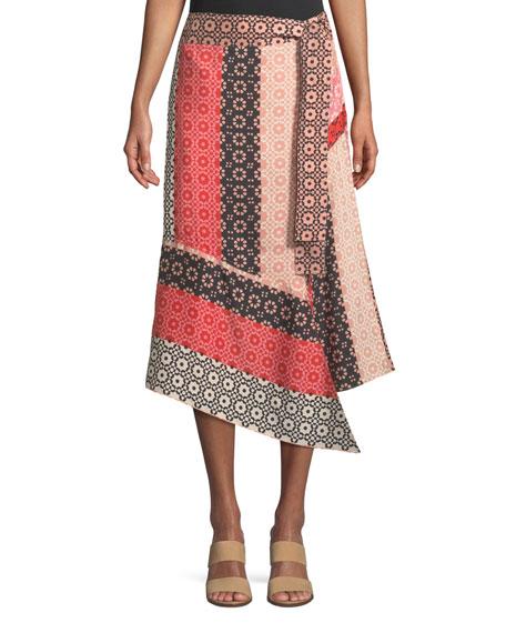 Asymmetrical Geo-Print Silk Wrap Skirt