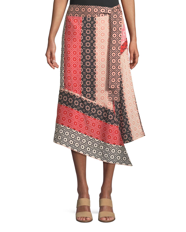 Derek Lam 10 Crosby Asymmetrical Geo-Print Silk Wrap Skirt  a6ea9b617