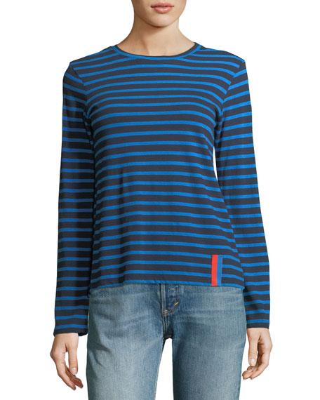 Kule Crewneck Long-Sleeve Striped Cotton Top