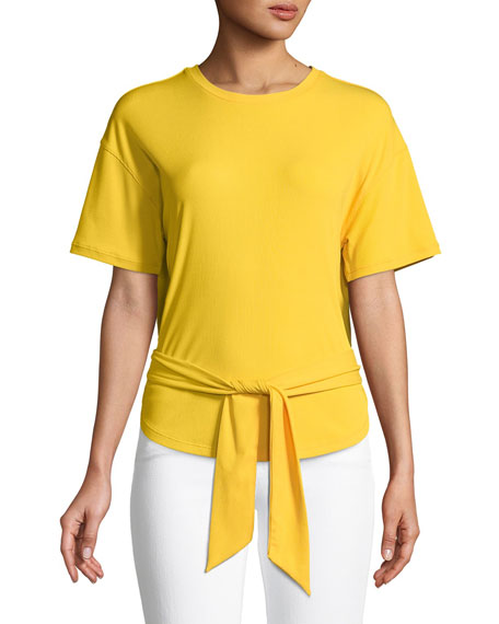 Rebecca Minkoff Lily Knit Tie-Front Crewneck Tee