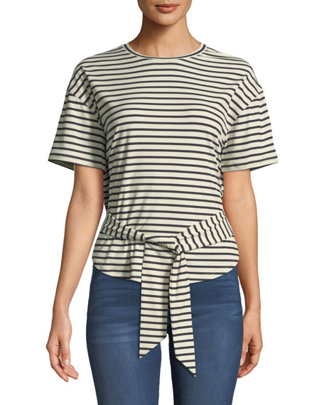 Lily Striped Tie-Front Crewneck Tee