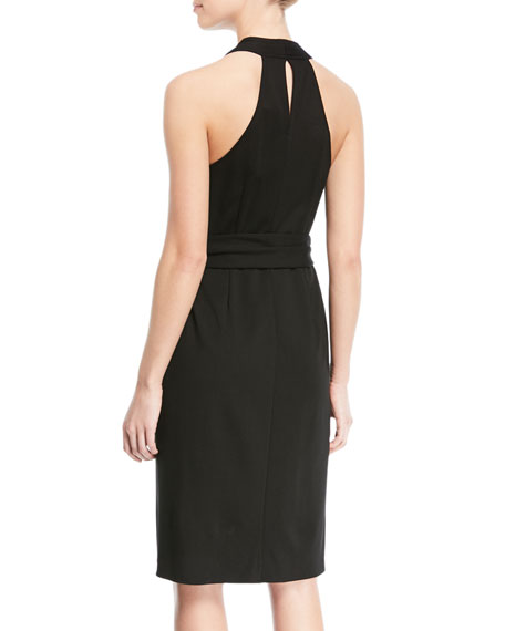 Belted Knee-Length Wrap Dress