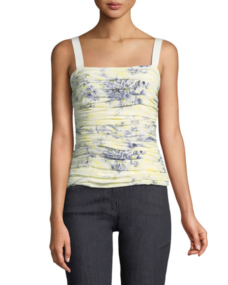 Rian Floral-Print Ruched Top