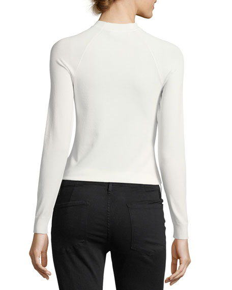 Open-Up Long-Sleeve Fitted Knit Top