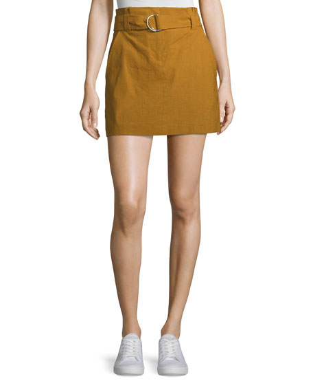 Bryce Belted Linen-Stretch Skirt