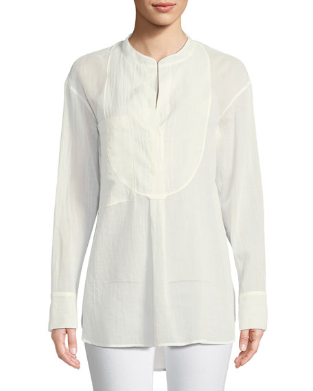 Modern Bib Long-Sleeve Button-Front Cotton Tunic