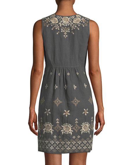 Lane Embroidered Linen Tank Dress, Plus Size