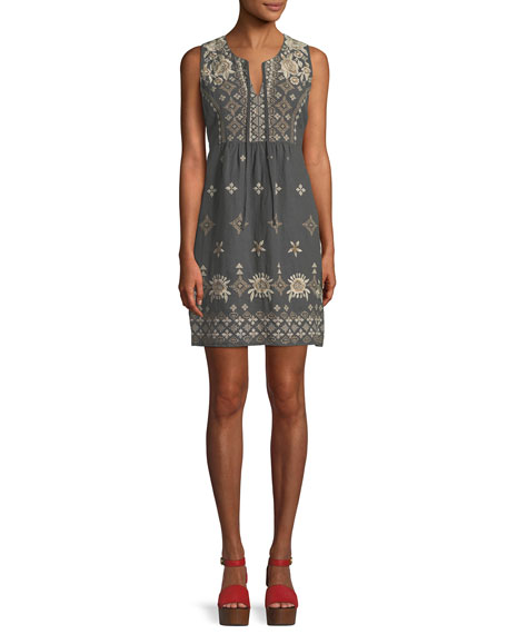 Johnny Was Lane Embroidered Linen Tank Dress, Plus