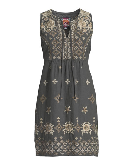 Plus Size Lane Embroidered Linen Tank Dress
