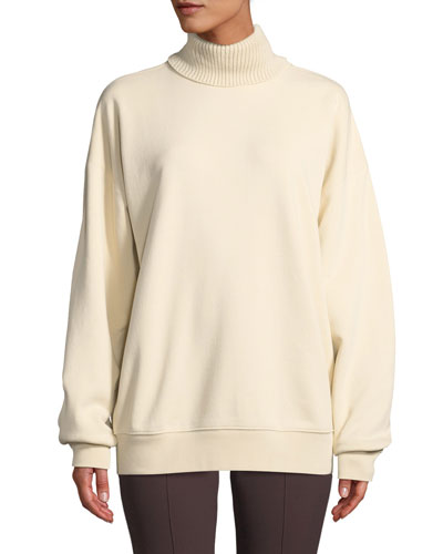 Smooth Terry Turtleneck Pullover Sweatshirt