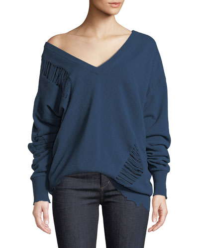 Wide V-Neck Distressed Wool Pullover Sweater