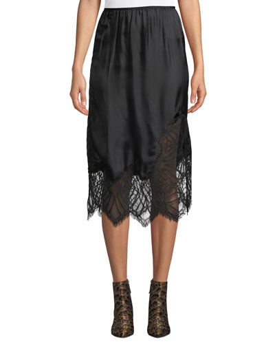 Satin Lace Midi-Length Slip Skirt