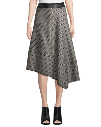 Striped Basketweave Asymmetric Midi Skirt