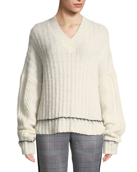 Helmut Lang Brushed Wool-Alpaca V-Neck Sweater