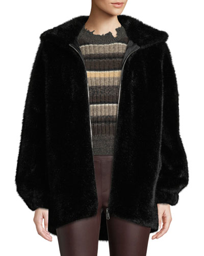 Oversized Faux-Mink Hooded Bomber Jacket