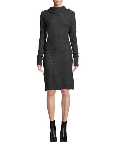 Mohair-Blend High-Neck Long-Sleeve Dress