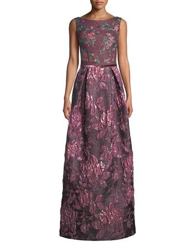 Jacquard Gown w/ Beaded Bodice