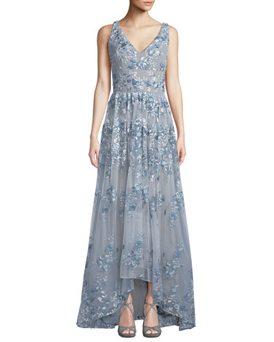 V-Neck Gown w/ Floral Embroidery
