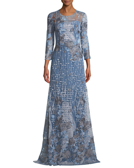 DAVID MEISTER EMBROIDERED GOWN W/ SHEER YOKE