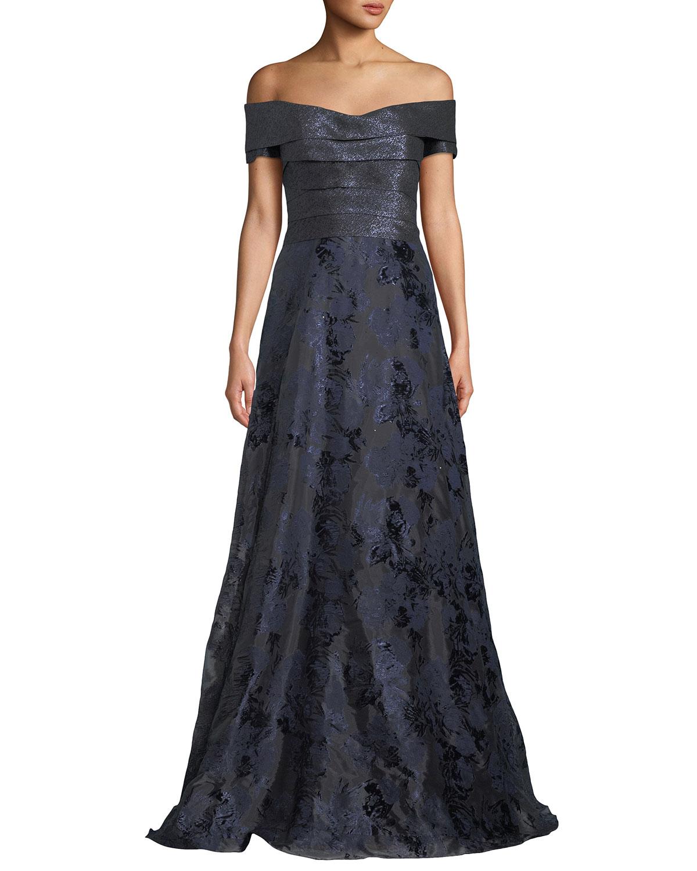 Rene Ruiz Off-the-Shoulder Metallic Ball Gown   Neiman Marcus