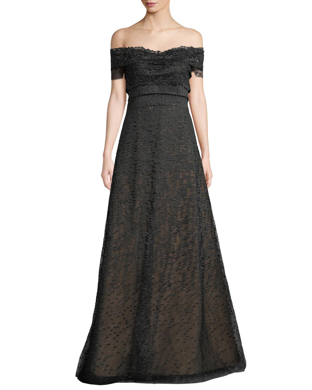 Rene Ruiz Textured Off-the-Shoulder Ball Gown   Neiman Marcus