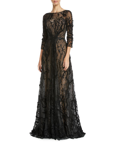 Embroidered Illusion Ball Gown