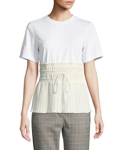 Short-Sleeve T-Shirt with Pleated Waist